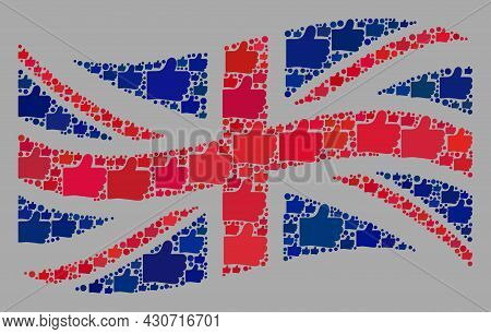 Mosaic Waving Great Britain Flag Created Of Like Icons. Vector Rating Collage Waving Great Britain F