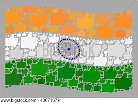 Mosaic Waving India Flag Designed Of Like Items. Vector Voting Mosaic Waving India Flag Created For