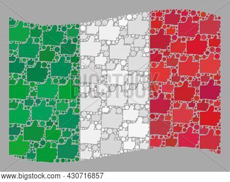 Mosaic Waving Italy Flag Created With Thumb Up Elements. Vector Positive Mosaic Waving Italy Flag Cr