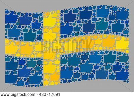 Mosaic Waving Sweden Flag Created Of Like Items. Vector Rating Collage Waving Sweden Flag Created Fo