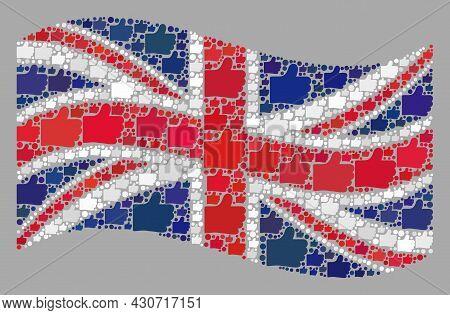 Mosaic Waving United Kingdom Flag Created Of Thumb Up Items. Vector Confirmation Mosaic Waving Unite