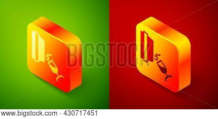 Isometric Wine Tasting, Degustation Icon Isolated On Green And Red Background. Wooden Barrel For Win