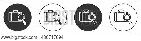Black Airline Service Of Finding Lost Baggage Icon Isolated On White Background. Search Luggage. Cir
