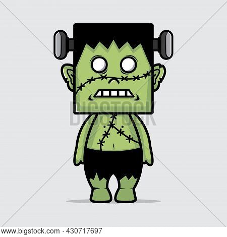Vector Illustration Of Halloween Zombies. Green Zombies. Ready For Party. 31 October. Halloween Part