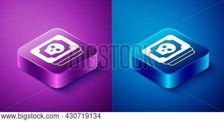 Isometric Tarot Cards Icon Isolated On Blue And Purple Background. Magic Occult Set Of Tarot Cards.