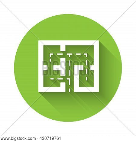 White Evacuation Plan Icon Isolated With Long Shadow Background. Fire Escape Plan. Green Circle Butt