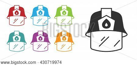 Black Firefighter Helmet Or Fireman Hat Icon Isolated On White Background. Set Icons Colorful. Vecto