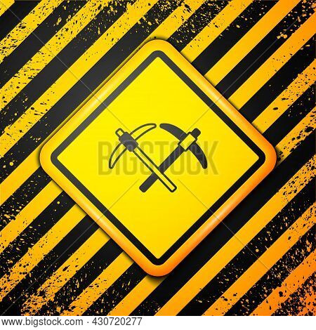 Black Pickaxe Icon Isolated On Yellow Background. Warning Sign. Vector
