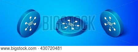 Isometric Network Icon Isolated On Blue Background. Global Network Connection. Global Technology Or