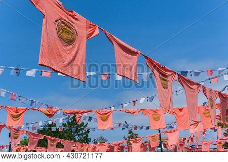 Halifax, Nova Scotia, Canada - 10 August 2021: Orange Shirts Hang At The Halifax Waterfront To Honou