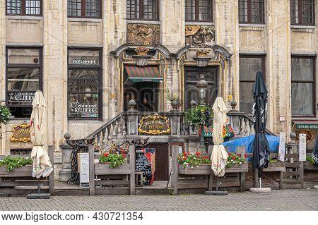 Brussels, Belgium - July 31, 2021: Famous Restaurant And Pub Kelderke On Grand Place Or Grote Markt