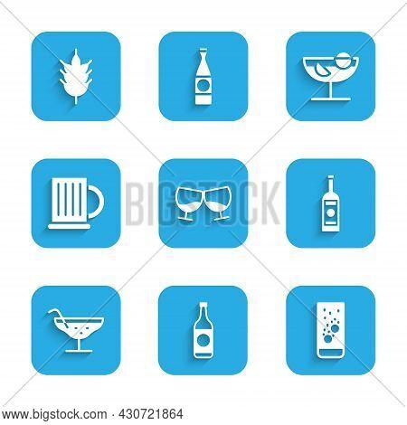 Set Glass Of Cognac Or Brandy, Beer Bottle, Effervescent Tablets In Water, Vodka, Cocktail, Wooden B