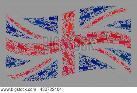 Mosaic Waving Great Britain Flag Created Of Needle Icons. Vector Covid-2019 Treatment Collage Waving