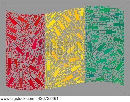 Mosaic Waving Guinea Flag Designed With Vaccine Items. Vector Virus Therapy Collage Waving Guinea Fl