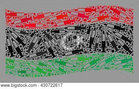 Mosaic Waving Libya Flag Designed Of Vaccine Elements. Vector Vaccination Mosaic Waving Libya Flag C