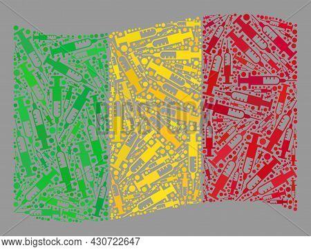 Mosaic Waving Mali Flag Constructed Of Syringe Items. Vector Addiction Collage Waving Mali Flag Desi