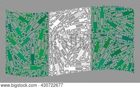 Mosaic Waving Nigeria Flag Constructed With Vaccine Items. Vector Virus Therapy Collage Waving Niger
