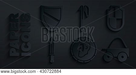 Set Ancient Coin, Shield, Medieval Sword, Wooden Four-wheel Cart, Axe And Icon. Vector