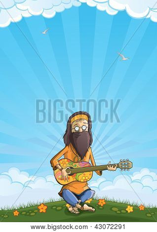 Hippie with guitar outdoor