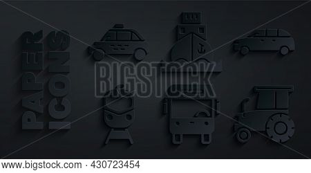 Set Bus, Hatchback Car, Train And Railway, Tractor, Cargo Ship And Taxi Icon. Vector