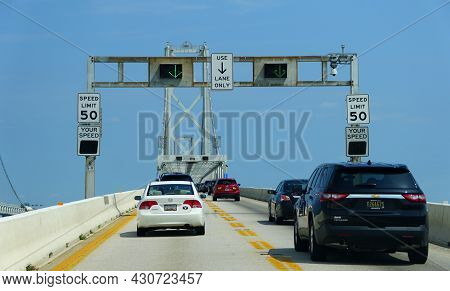Maryland, U.s C Traffic On Route 301 By Harry W Nice Memorial Bridge In The Summer