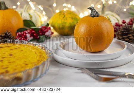 Thanksgiving Day Dinner. Thanksgiving Day. Thanksgiving Autumn Background Of Pumpkins