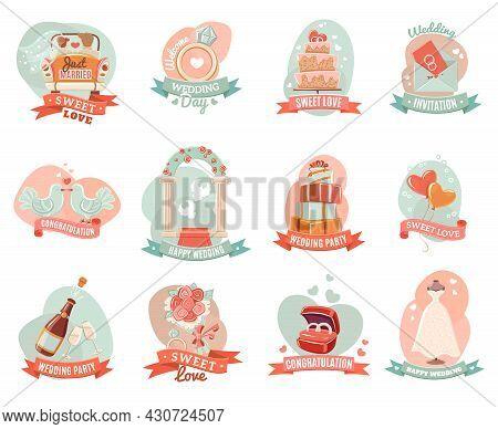 Nostalgic Romantic Marriage Emblems Stickers Set For Presents Decoration And Ceremony Party Invitati