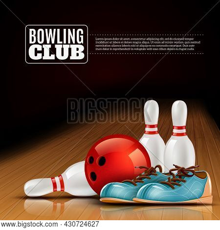 Indoor Bowls Club Poster For Members And Visitors With Shoes Ball And Pins Realistic Colorful Vector