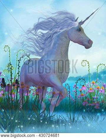Unicorn Fantasy 3d Illustration - A White Unicorn Stallion Walks Through A Garden Full Of Flowers An