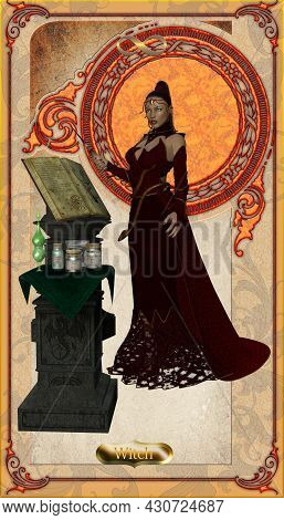 Witch Card 3d Illustration - A Witch Is A Sorcerer Who Casts Supernatural Spells And Makes Magic Pot