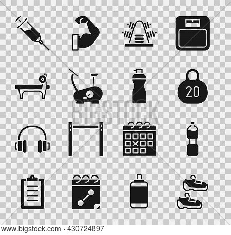 Set Sport Sneakers, Bottle Of Water, Kettlebell, Metal Rack With Weights, Stationary Bicycle, Bench