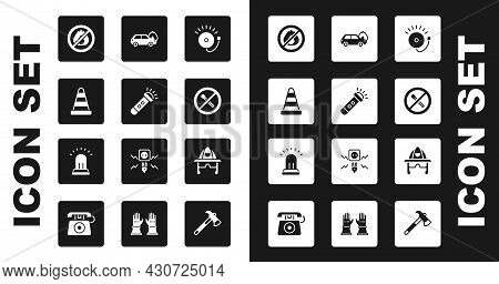 Set Ringing Alarm Bell, Flashlight, Traffic Cone, No Fire, Match, Burning Car, Firefighter Helmet An