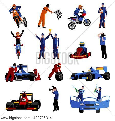 Race And Rally Icons Set With Moto Auto Rally And Victory Symbols Flat Isolated Vector Illustration