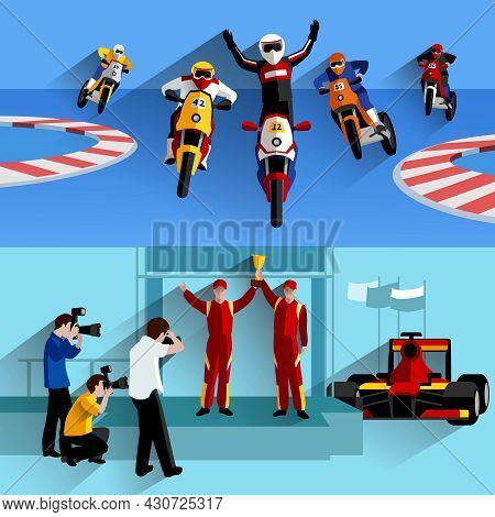 Racing And Rally Horizontal Banners Set With Track Photographers And Victory Symbols Flat Isolated V