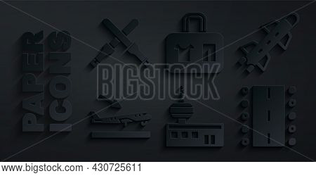 Set Airport Control Tower, Rocket, Plane Landing, Runway, Suitcase And Marshalling Wands Icon. Vecto