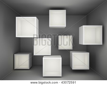 Abstract empty showcase with light
