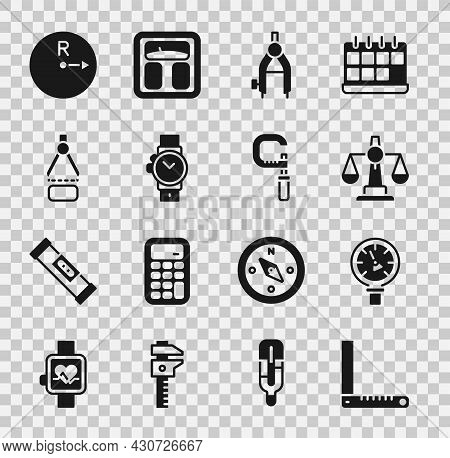 Set Corner Ruler, Pressure Water Meter, Scales Of Justice, Drawing Compass, Wrist Watch, Radius And