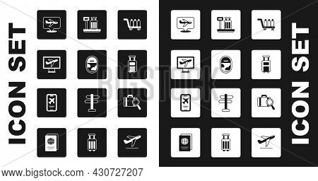 Set Trolley Baggage, Airplane Window, Plane, Suitcase, Scale With Suitcase, Lost And Mobile Ticket I