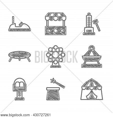 Set Ferris Wheel, Magic Hat And Wand, Circus Tent, Boat Swing, Attraction Carousel, Jumping Trampoli