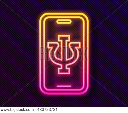 Glowing Neon Line Online Psychological Counseling Distance Icon Isolated On Black Background. Psycho