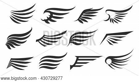 Emblems Retro Wings. Vintage Vector Wing Icons Isolated, Angel And Eagle Winges Collection Illustrat