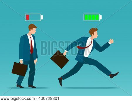 Business Man Recharge. Tired And Active Businessman, Vector Low Power And Fuel Energy Guy, Sad Unhap