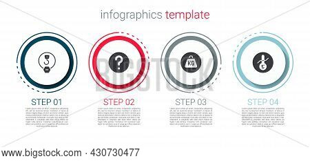 Set Industrial Hook, Unknown Search, Weight And Meteorology Thermometer. Business Infographic Templa