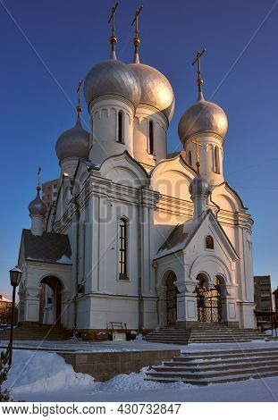 The Church Of Virgin Mary Icon Sign-abalatsk On The Teacher Street In The Winter In The Snow. Entran