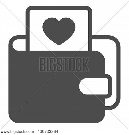 Wallet And Card With Heart Solid Icon, Dating Concept, Purse With Picture Of Heart Vector Sign On Wh