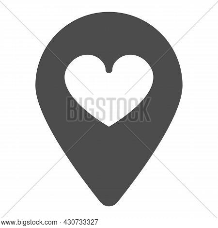 Location Map Pin With Heart Solid Icon, Dating Concept, Favourite Place Vector Sign On White Backgro