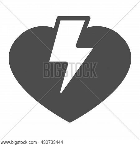 Heart And Lightning Solid Icon, Dating Concept, Love Thunder Vector Sign On White Background, Glyph