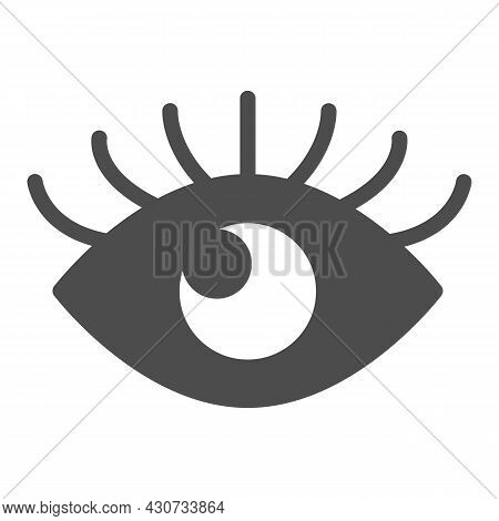 Open Eye With Eyelashes, Look Solid Icon, Human Body Concept, Sight Vector Sign On White Background,