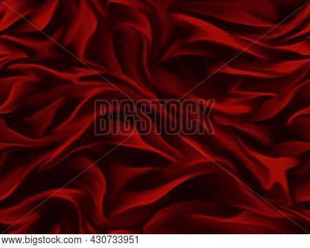 Red Brilliant Textiles, Seamless Background With Wavy Draped Fabric Pleats, Smooth Silk Texture With