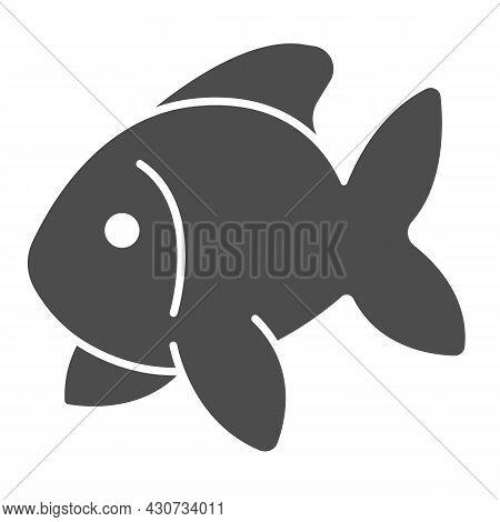 Fish, Goldfish, Aquarium Tropical Fish Solid Icon, Sea Life Concept, Carp Vector Sign On White Backg